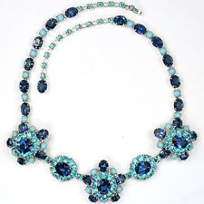 Christian Dior by Kramer Sapphire Turquoise Blue Topaz Aquamarines Necklace