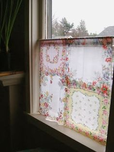 Cafe bath or bedroom curtain made of vintage handkerchiefs hankies for cottage chic style home decor look; Use Velcro to make valance curtains for the windows. No Sew Curtains, Drop Cloth Curtains, Burlap Curtains, Cafe Curtains, Hanging Curtains, Vintage Curtains, Elegant Curtains, Vintage Kitchen Curtains, French Curtains