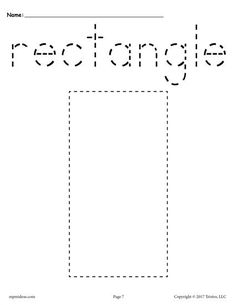 This rectangle tracing worksheet can easily fit into any shapes lesson plan. It's perfect for toddlers, preschoolers, and kindergarteners. Print the rectangle worksheet by itself, or go down to. Free Preschool, Preschool Worksheets, Preschool Learning, Preschool Activities, Teaching, Preschool Shapes, Cutting Activities, Preschool Projects, Shape Tracing Worksheets