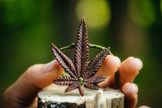 Hemp Leaf Necklace  Peridot  Handcarved  Marijuana Leaf