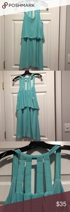 GUESS turquoise dress Scoop neck dress. Two layers for flattering look and comfortable feel. Semi-open back. Guess Dresses Midi