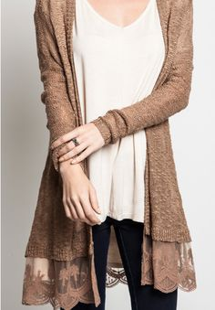 """Open Knit Cardigan with lace detail in Mocha. LENGTH FROM SHOULDER:32"""""""