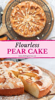 Extremely light and soft, this Flourless Pear and Almond Cake with almond crunch topping is a delicious dessert. This naturally gluten-free Pear Cake makes a great Autumn and Winter dessert to enjoy with your afternoon tea or serve as a dinner party dessert. Dinner Party Desserts, Winter Desserts, Holiday Desserts, Fun Desserts, Elegant Desserts, Pear And Almond Cake, Pear Cake, Pear Dessert Recipes, Almond Recipes