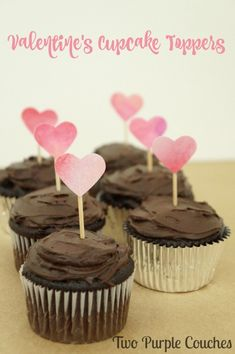 Make these pretty Valentine's Cupcake Toppers in minutes! Prfect for a Valentine's party or fun kids crafts idea!
