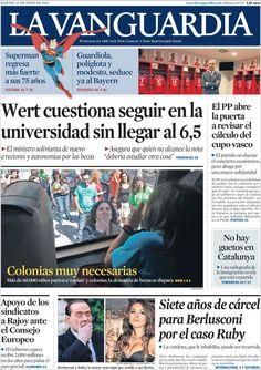 Los Titulares y Portadas de Noticias Destacadas Españolas del 25 de Junio de 2013 del Diario La Vanguardia ¿Que le parecio esta Portada de este Diario Español?
