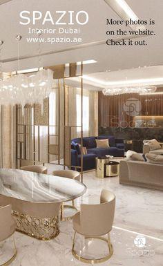 Classy dining room interior decoration in light colors. Get more living room interior design ideas. Interior Design Dubai, Modern Home Interior Design, Luxury Homes Interior, Interior Design Living Room, Luxury Dining Room, Dining Room Design, Luxury Living, Palace Interior, Dream House Interior