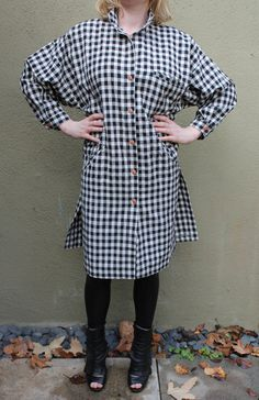 Vintage 80s black and white check oversized coat dress AGIANO 80s new wave dress 80s does 40s by Anabecca on Etsy