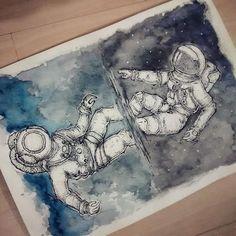 Felipe Cesar Curitiba astronaut watercolor tattoo