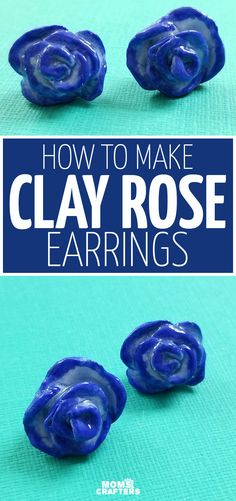Click to learn how to make clay rose earrings with a beautiful watercolor finish! These dramatic studs statement earrings are a fun Spring and summer craft for teens and tweens and an easy jewelry making project for beginners.