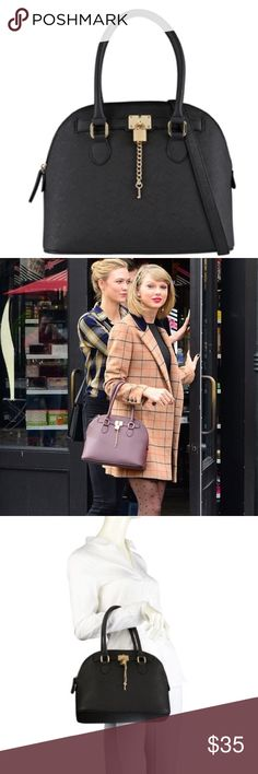 """Aldo Frattapolesine Lock & Key Satchel ・Condition: like new/gently used condition - no exterior or interior damage  ・Shown as carried by Taylor Swift and model to show size   ・Material: see 8th photo  ・Measurements: height: 10""""; width 13""""; base: 6.5"""" across  ・Gold lock & key accents  ・does NOT include longer strap, only hand straps ( ・No longer sold by Aldo  💰 Price is negotiable using the """"Offer"""" button. I do not negotiate price in the comments.  📦 Same or next business day shipping on…"""