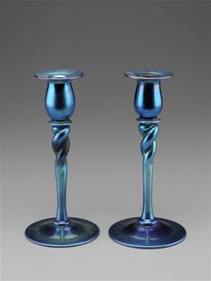Pair of Aurene Candlesticks / Blown Lead Glass / 1905/1910, American
