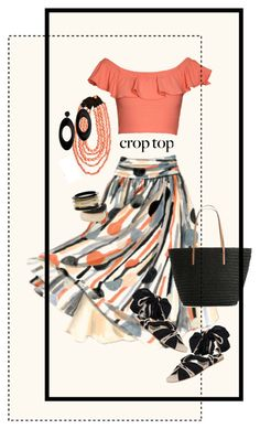 """""""Crop Top Style"""" by halebugg ❤ liked on Polyvore featuring Kelly & Katie, MOOD, Dorothy Perkins, Max Studio, Emporio Armani, vegan shoes, hoop earrings, flat sandals, ankle wrap sandals and black earrings"""