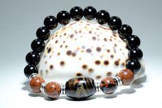 Women's Bracelet with Black Coral (Yusuri), Obsidian and Black Onyx Beads. Bracelets For Men, Beaded Bracelets, Coral Bracelet, Women's Jewelry, Black Onyx, Boho Fashion, Handsome, Bohemian, Yoga