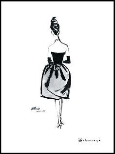 Fashion illustration, Balenciaga dress, Paris, 1960 (Alfredo Bouret)