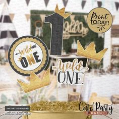 INSTANT DOWNLOAD - Wild one First Birthday centerpiece printable Birthday decoration black gold wild one garland decor wild one birthday boy Gold First Birthday, Wild One Birthday Party, Boy Birthday Parties, Birthday Ideas, Valentinstag Party, First Birthday Centerpieces, Birthday Party Decorations, Holiday Party Games, Minnie Mouse Party