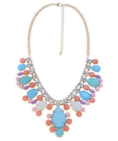 null (Multi Col) Pastel Blue and Pink Gemstone Necklace | 276819599 | #NewLook