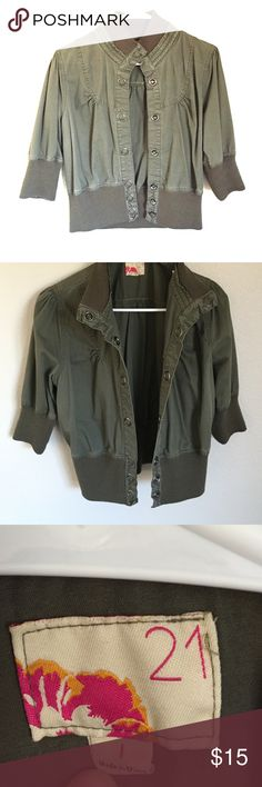 Olive green Jacket Members only style olive green jacket in large, super cute with jeans and booties! 👖💁🏻👍🏻😍 Forever 21 Jackets & Coats