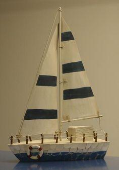 Blue Striped Sail Boat, Atlantic Coast Decor