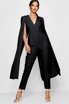 Boohoo Cape Woven Tailored Jumpsuit 6 on Mercari Occasion Jumpsuits, Jumpsuits Uk, Cape Jumpsuit, Tailored Jumpsuit, Kimono Fashion, Pop Fashion, Fashion Outfits, Capes For Women, Clothes For Women