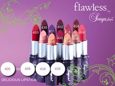 Delicious Lipstick Infused with our very own Aloe Vera, these exclusive, new and innovative flawless by Sonya™ Delicious Lipsticks create the perfect veil of color for rich, luxurious and deliciously flawless lips. 12 new shades, from sheer to dramatic, are delicately flavored with delicious vanilla and will leave your lips delightful and flawless.