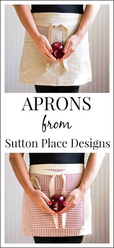 Half aprons in flax linen, red ticking or blue ticking. www.suttonplacedesigns.com