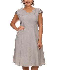 Gray Cap-Sleeve Dress - Plus #zulily #zulilyfinds
