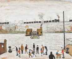 Three Masterworks By L. Lowry to Appear at Auction at Sotheby's - About Manchester Black Figure, Male Figure, Visual Puns, Visual Memory, English Artists, Gcse Art, Urban Landscape, Banksy, Impressionist