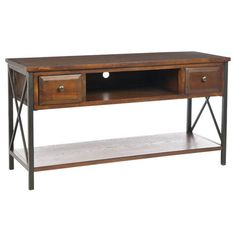 Pine wood media console with latticed side panels.    Product: Media console    Construction Material: Pine wood and metal    Color: Dark mahogany   Features:  Two drawers    Latticed side panels    Bottom shelf   Dimensions: 25.2 H x 47.2 W x 18.3 D