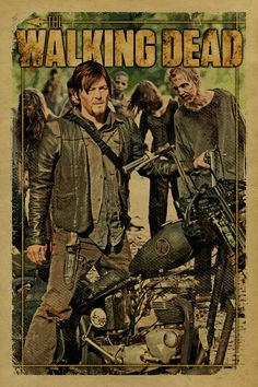 The Walking Dead poster featuring Daryl Dixon on his bike and a herd of zombie walkers. Norman Reedus.12x18. Kraft paper. TV. Art. Print