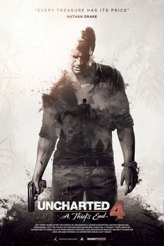 I created this poster inspired by film posters, with a cinematic touch, about Uncharted I was inspired by the double exposure photographic effect, an. Uncharted A Thief's End - Unofficial Poster Nathan Drake, Drake Uncharted 4, Uncharted Series, Video Game Posters, Video Game Art, Video Games, Playstation Games, Ps4 Games, Xbox