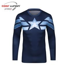 3D Printed T-shirts Captain America Compression Shirt Long Sleeve Cosplay Costume Clothing Tops Male Halloween Costumes For Men #Affiliate