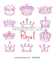 crown, vector hand drawn vector. - stock vector