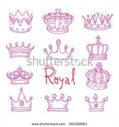 crown, vector hand drawn vector. - stock vector