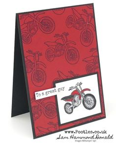 Pedal To The Metal Cafe Racer Card Stampin' Up! Demonstrator Pootles – Pedal To The Metal Cafe Racer Card My husband is a fan of motorbikes. He has 6 bikes on our garage – 3 full size bikes, 2 small ones and ano… Stamping Up Cards, Metal Stamping, Rubber Stamping, Metal Projects, Cafe Racer, Scrapbooking, Fathers Day Cards, Kids Cards, Men's Cards