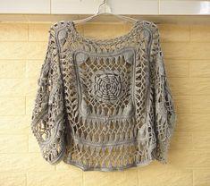 Handmade Crochet Kimono Sleeve Crop Tops Summer Floral Beach Cover up Womens Sheer Blouse Top Crop Tejido En Crochet, Crochet Shirt, Crochet Top, Crochet Summer, Crochet Bikini, Crochet Bodycon Dresses, Black Crochet Dress, Hairpin Lace Crochet, Unique Crochet