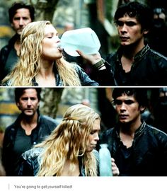 "[gifset] #2x09 #RememberMe #Bellarke I love that when she grabbed the bottle, he shifted just the barest amount, in case she needed him. And his face as she drank was just so perfect. It said ""I trust you but princess, you better be right""."