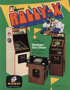 "it8bit:  Classic Ads: Rally-X Rally-X is a maze driving arcade game that was released by Namco in 1980. It runs on Namco Pac-Man hardware, and was the first Namco game to feature ""Special Flags"", which would become a recurring object in later games. It was also the first game to ever feature a ""bonus round.""  The object is to ""capture"" all of the flags scattered in the field before the other racers hit you. It also features an early example of a radar, to show the car's location on the map…"