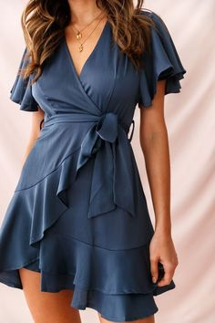 Shop the Cami Angel Sleeve Faux Wrap Dress Blue only at Selfie Leslie! Elegant Dresses, Sexy Dresses, Blue Dresses, Casual Dresses, Fashion Dresses, Dresses For Work, Summer Dresses, Wrap Dresses, Formal Dresses