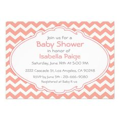 Blush pink coral white chevron baby shower invite
