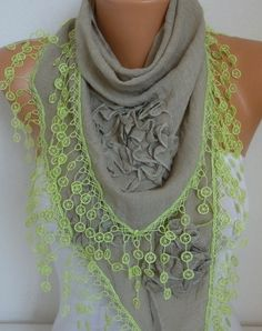 OOAK Scarf Beige Cotton Floral Scarf Summer Scarf Cowl by fatwoman