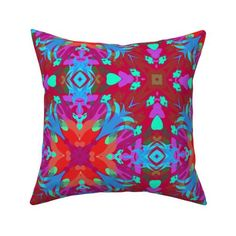 Kaleidos Red and Purple custom Square Throw Pillow Cover by mirimo_design for sale on Spoonflower Pillow Cover Design, Throw Pillow Covers, Gold Pillows, Home Decor Shops, Red Purple, Decorative Throw Pillows, Spoonflower, Cotton Canvas, Printing On Fabric