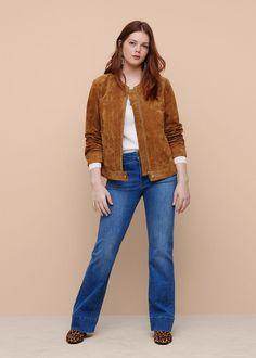 5151cafe5b135 Blouson croûte de cuir zippé - Grandes tailles. Veste Grande TailleCroute  De CuirGrandes TaillesBlouson CuirMode Femmes ...
