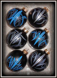 6 Flat Black Ornaments Hand Pinstriped by Lil by LilDameStripes, $30.00