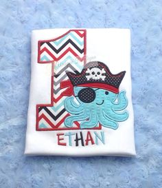 Boys Applique Birthday Pirate Octopus with Pirate Hat and Number Chevron T-Shirt or Bodysuit on Etsy, $23.53 AUD