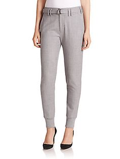 Vince Belted Rib-Cuff Jogger Pants - Grey - Size 6