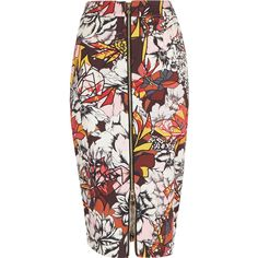 Red graphic print zip front pencil skirt - tube / pencil skirts - skirts - women