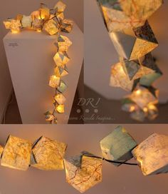 DIY figure out how to make these origami squares and add them onto a set of christmas lights!