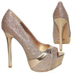 Amazon.com: Womens Qupid Champagne Gold Glitter Peep Toe Platform Pump (Miriam87): Shoes