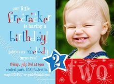 Cool FREE Template Fourth Of July Birthday Invitations Baby Boy 1st