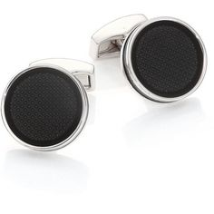 Tateossian Textured Black Cuff Links ($195) ❤ liked on Polyvore featuring men's fashion, men's accessories, cuff links, apparel & accessories and black